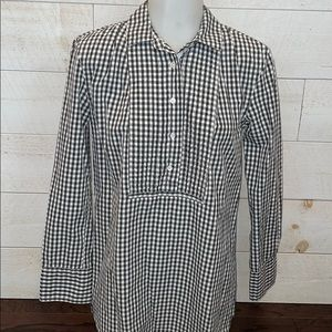 J. Crew Gingham Button Down Long Sleeve Top